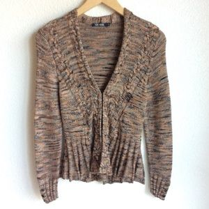 Nic+Zoe Cardigan Sweater Marled Knit Size PS